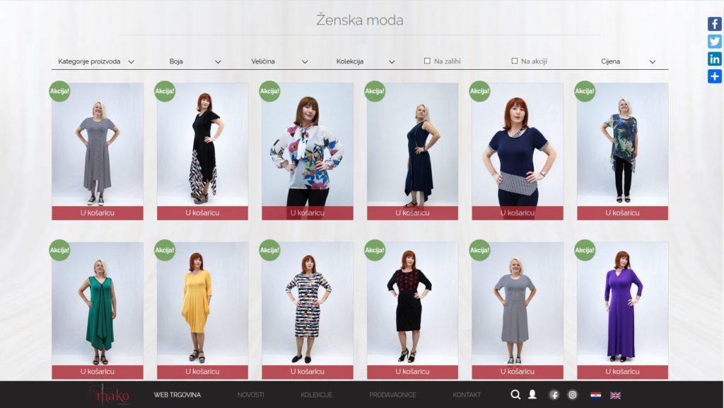 prikaz izgleda web trgovine