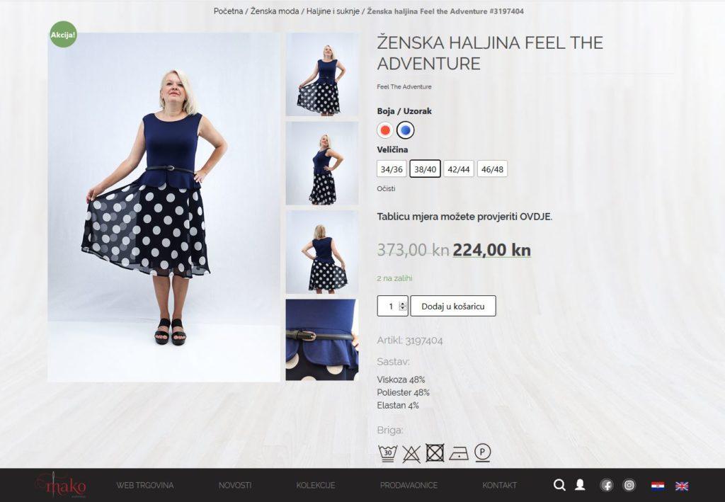 prikaz proizvoda unutar web trgovine