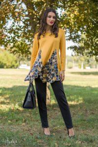 Mako_Knitted_Elegance_žuto_šarena_tunika